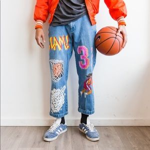 Hand-Painted vintage basketball jeans sz 34